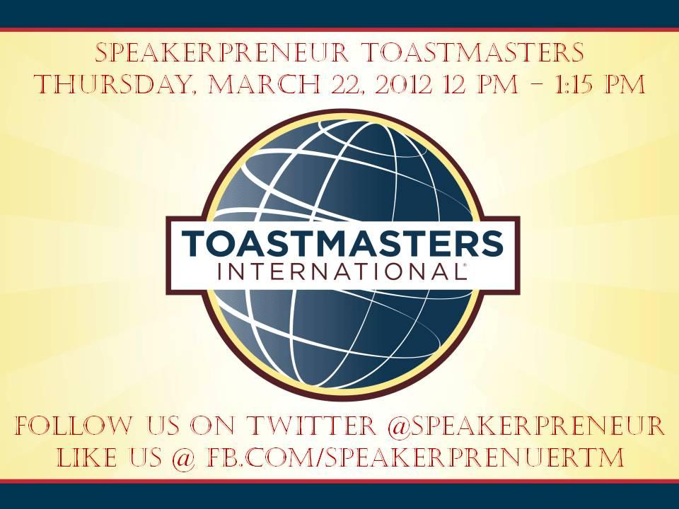 Speakerpreneur Meets 2nd & 4th Thurs.