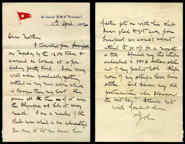 Rare Titanic letter
