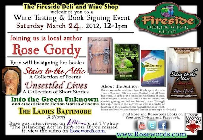 Rose Gordy - Fireside Book Signing Flyer