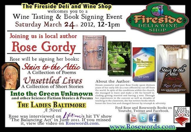 Rose Gordy - Fireside Book Signing Flyer