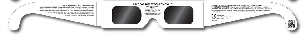 Safe Viewing Information on Eclipse Glasses