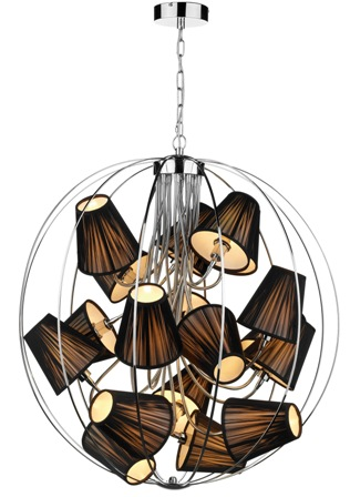 cage chandelier with brown shades