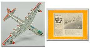 (l) Yonezawa B-36 tin bomber (r)  box for Britains