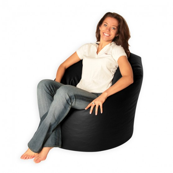 XL Bean Bag - Black Faux Leather