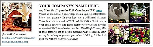 WeddingLDS.com Wedding Vendor Directory Ad