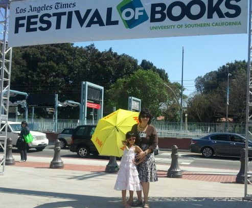 Author enjoying L.A. Times Festival of Books at USC