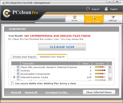 PC Clean Pro Rogue Antispyware Program Screen Shot
