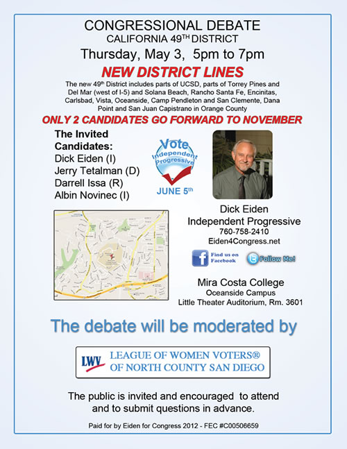 Dick Eiden Debate - 49th Congressional District