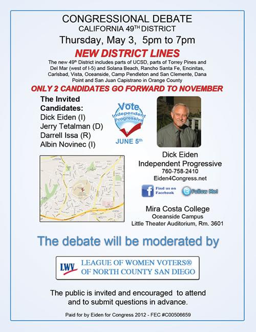 Dick Eiden Debate - 49th Congressional District