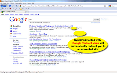 Google Redirect Virus Screen Shot