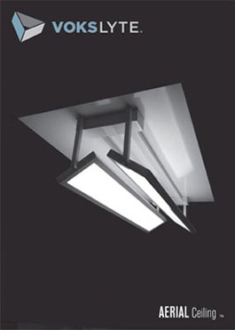 VoksLyte AERIAL -- a articulating Flat Panel LED ceiling luminaire