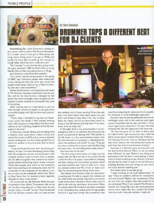 "John Donovan,  ""Featured Party Percussionist"" in DJ Times Magazine - March 2012"