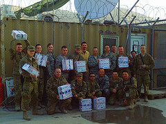 "Field soldiers showing appreciation for their ""We Care"" packages"