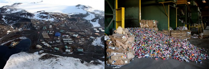 The McMurdo Recycling Station in Antarctica (left) and recyclable cans at Del