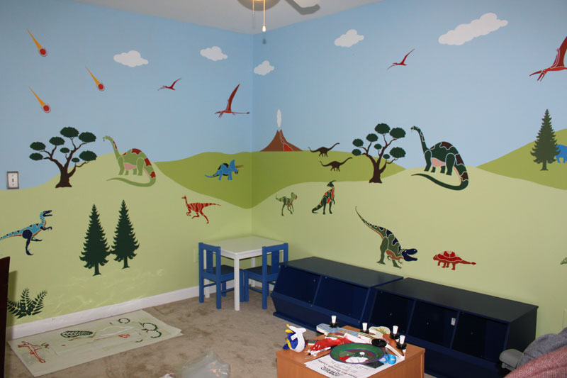 Marvelous Dinosaur Days Wall Mural Stencil Kit By My Wonderful Walls Part 3