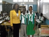 CEF CEO Nikiki Bogle with 6th grade students at Duhaney Park Primary - May 2012