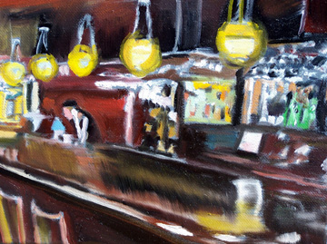 "Steve Messenger ""Logan Inn Bar"" 8"" x 10"" oil painting"