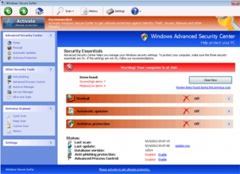Windows Secure Surfer Rogue AntiSpyware Program