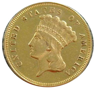 1870 S $3 gold coin