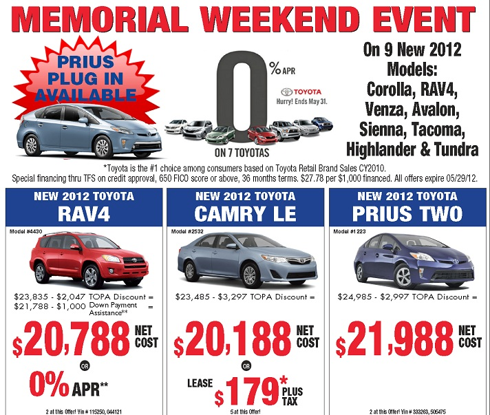 Toyota Event: Toyota Memorial Day Sales 2012