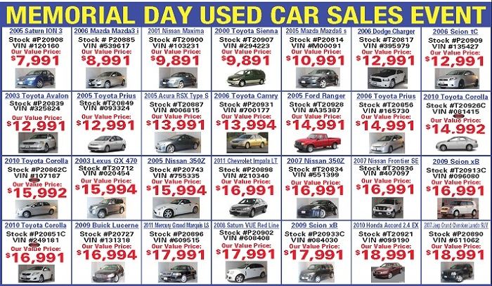 Memorial Day Vehicle Sales For  Cars