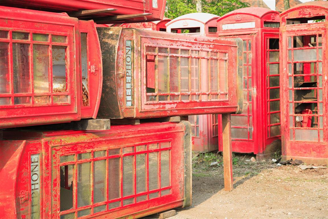 British Red Phone Boxes ready for refurbishment