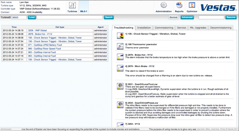 Screenshot of Vestas portal