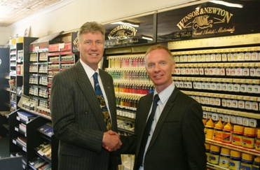 Sandy with Adrian Moorhouse of Winsor & Newton