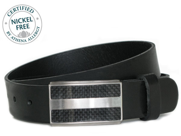 Nickel Smart™ Genuine Leather Nickel Free Belt--Titanium/Carbon Fiber Buckle