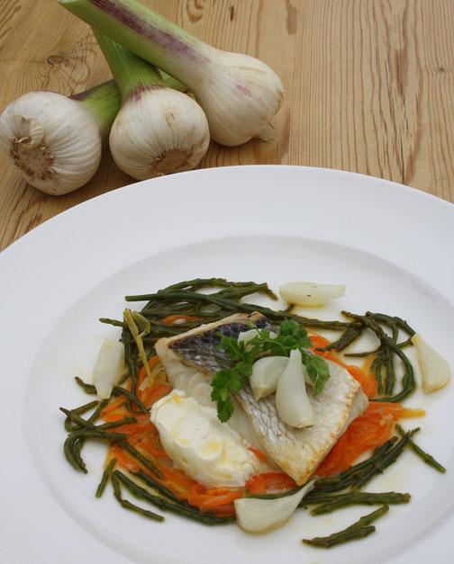 Sea Bass with new season green garlic 2012 low res