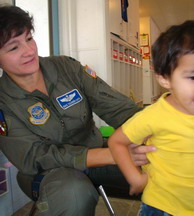 Capt Mama and son celebrate Veterans Day at preschool
