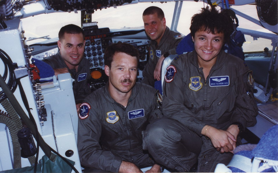 Graciela in KC-135 cockpit with crew while on active duty with U.S. Air Force