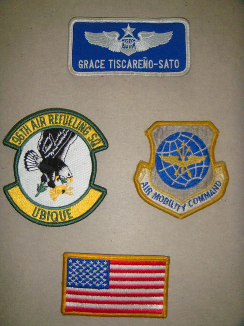 Patches from Capt Mama's flight suit inspired son's questions and book