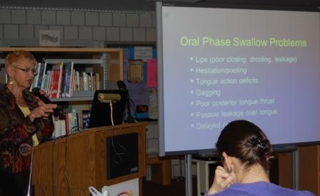 Dr. Joan Arvedson led a presentation on feeding and swallowing at Blythedale.
