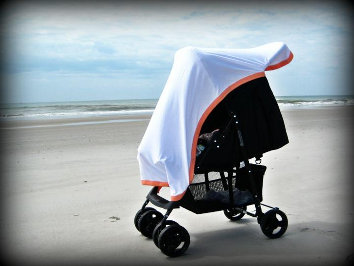 "sunsnapz MIDI blanket ""snapz"" onto baby gear to give UPF50+ sun protection."