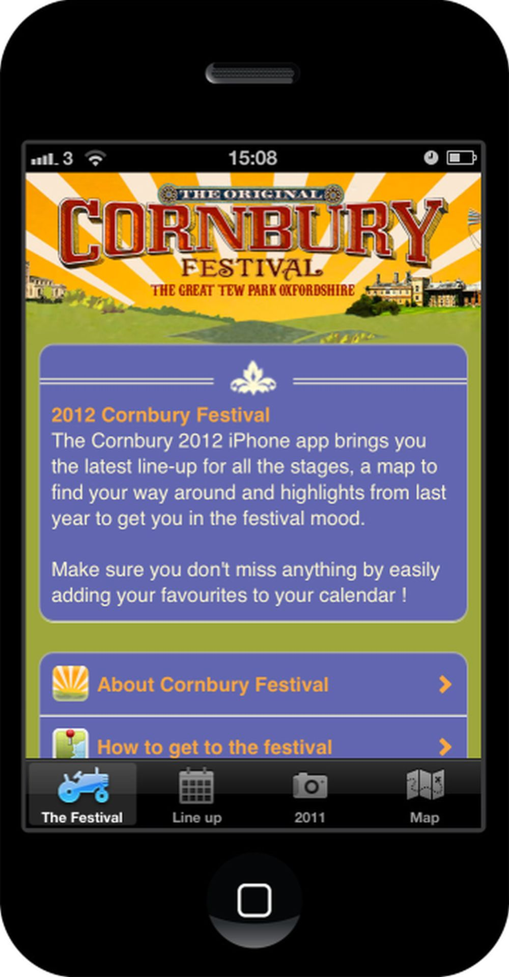 Cornbury Festival 2012 App homepage
