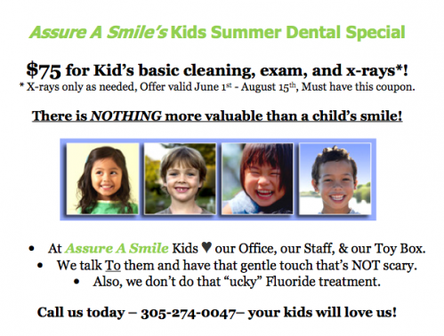 Miami Dentist Kids Summer Special