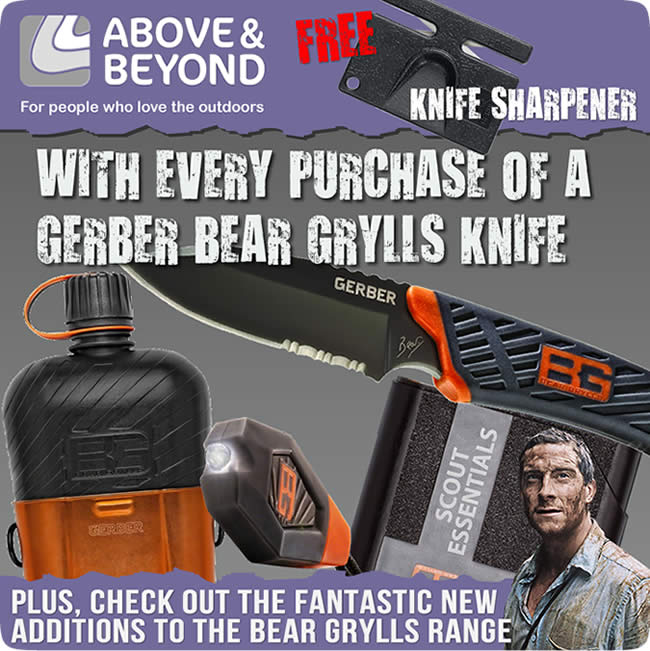 Buy any Gerber Bear Grylls Knife & get a FREE Diamond Pocket Knife Sharpener