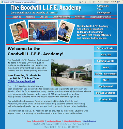 The new Goodwill L.I.F.E. Academy website is easier to navigate.