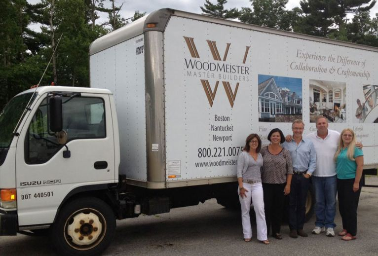 Woodmeister presents box truck to Len and Cherylann Gengel of Be Like Brit