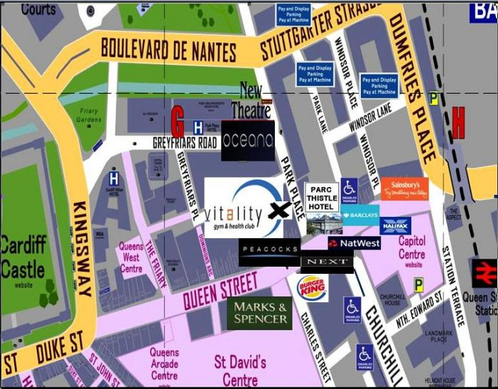City Marshall location map - at the corner of Queen Street and Park Place