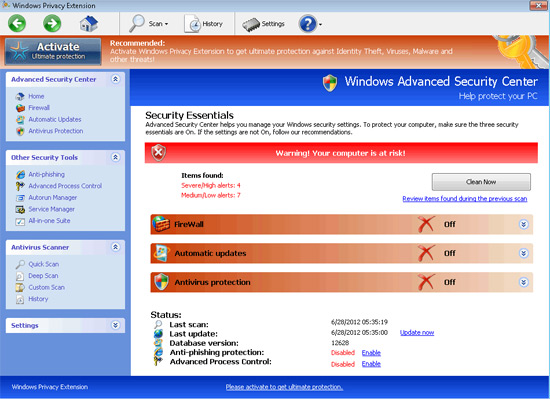 Windows Privacy Extension fake security program image