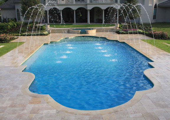 Swimming Pool and Spa with Fountain