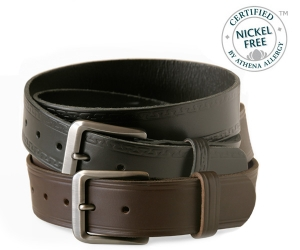 Certified Nickel Free™ Genuine Leather Belt sets by NoNickel.com