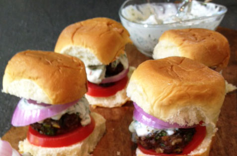 Voskos Greek Yogurt is featured in this recipe for Chimichurri Beef Sliders