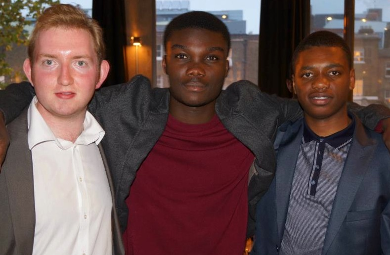 Adam Bradford (left) with Tim Armoo (centre) & Cameron Alexander (right)