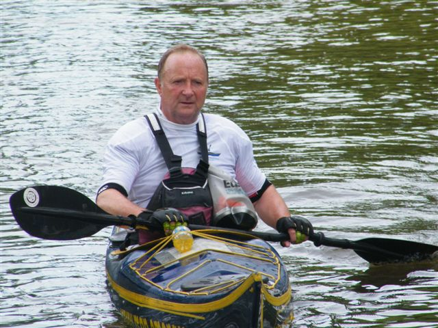 Chris paddling from the Isle of Man to Monaco