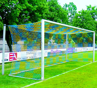 Blue and Gold Soccer Net
