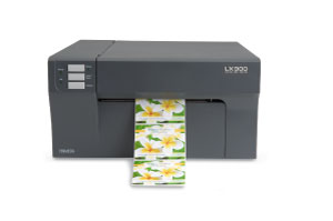 Primera LX900 color label printer printing white matte labels