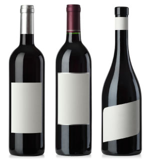 Red Wine Bottle with Blank White Matte Labels